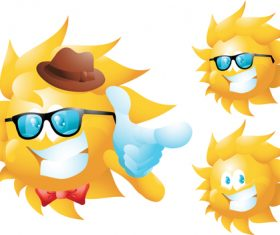 Cheerful cartoon sun with sunglasses vector 02