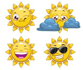 Cheerful cartoon sun with sunglasses vector 04