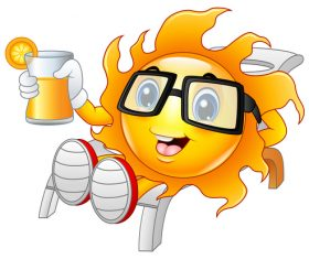Cheerful cartoon sun with sunglasses vector 05