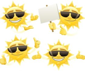 Cheerful cartoon sun with sunglasses vector 06