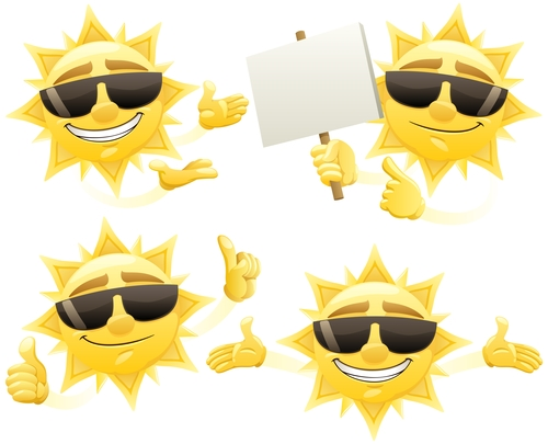 Cheerful cartoon sun with sunglasses vector 06