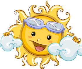 Cheerful cartoon sun with sunglasses vector 07