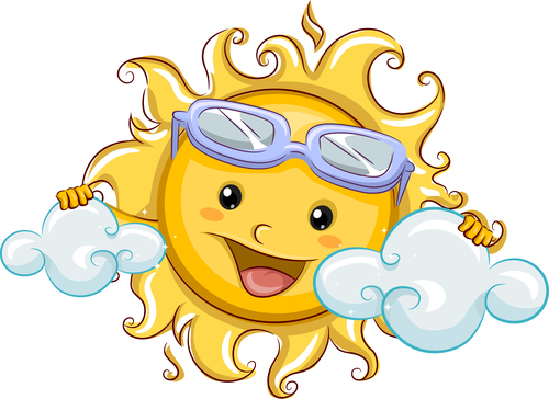 Cheerful cartoon sun with sunglasses vector 07