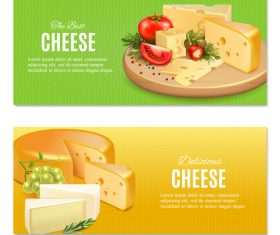 Cheese banners realistic vector