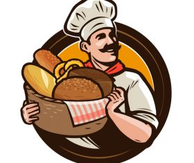 Chef emblem retro design vector 01