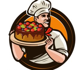 Chef emblem retro design vector 03