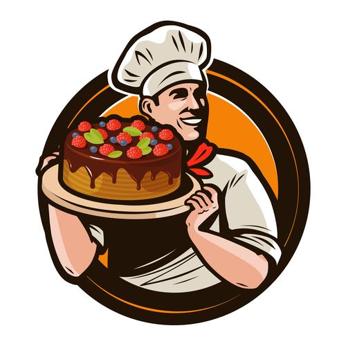 Chef emblem retro design vector 03