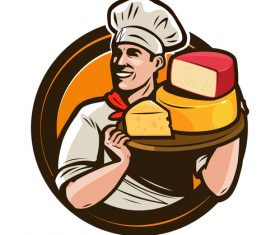 Chef emblem retro design vector 05