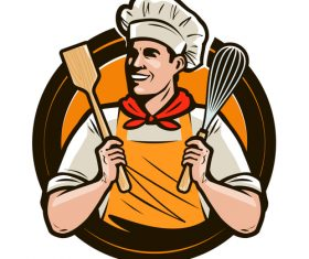 Chef emblem retro design vector 07