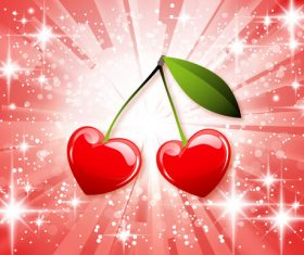 Cherry with shiny background vectors material