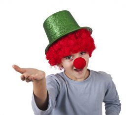 Child clown dress up Stock Photo