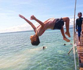 Child dive pose Stock Photo