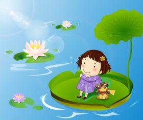 Child sitting on lotus leaf vector