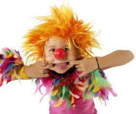 Children dressed as clowns Stock Photo