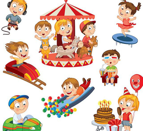 Children play happy holidays vector