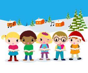 Children reading books in winter background vector