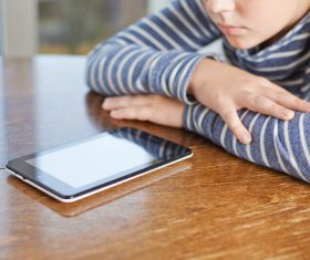 Childrens Uses tablets pc Stock Photo