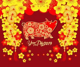 Chinese pig year with 2019 new year design vector 03 free ...