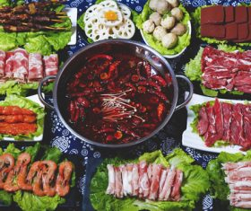 Chinese spicy hot pot and side dish Stock Photo