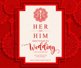Chinese wedding card template vectors 01