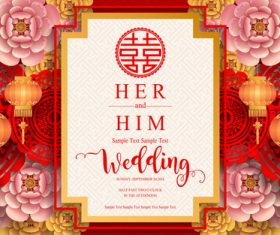 Chinese wedding card template vectors 02
