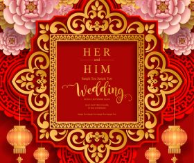 Chinese wedding card template vectors 03
