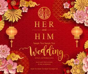 Chinese wedding card template vectors 04