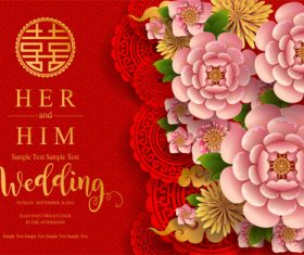 Chinese wedding card template vectors 05