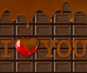 Chocolate background with heart vector