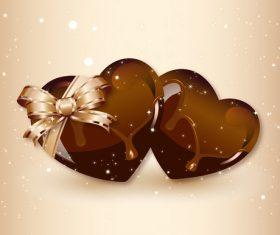 Chocolate heart card vector 01