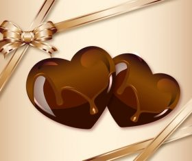 Chocolate heart card vector 02