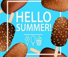 Chocolate ice cream with summer background vector
