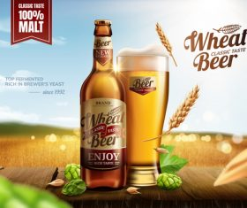 Classic wheat beer poster template vectors 01