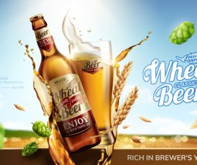 Classic wheat beer poster template vectors 02