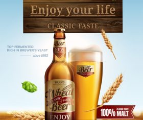 Classic wheat beer poster template vectors 04