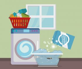 Cleaning housework with washing machine vector 01