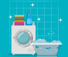 Cleaning housework with washing machine vector 02