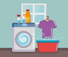 Cleaning housework with washing machine vector 03