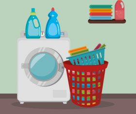 Cleaning housework with washing machine vector 04