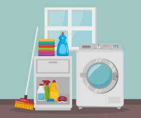 Cleaning housework with washing machine vector 05