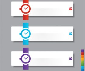 Clock banners blank vectors