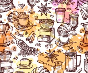 Coffee attributes hand drawn seamless pattrn vector