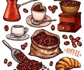Coffee color hand drawn vector sketch Illustration 02