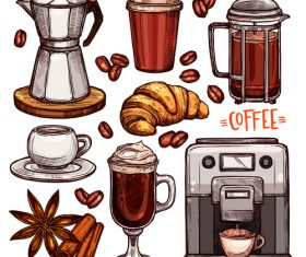 Coffee color hand drawn vector sketch Illustration 03