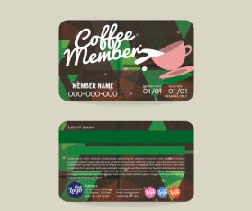 Coffee member card template vector 01