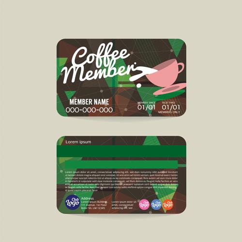 Coffee member card template vector 01