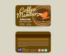 Coffee member card template vector 02