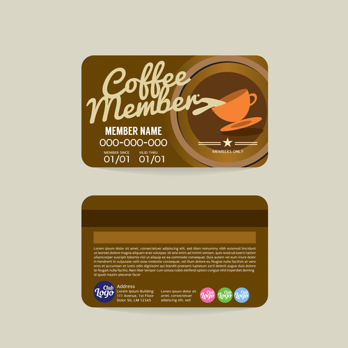 Coffee member card template vector 02