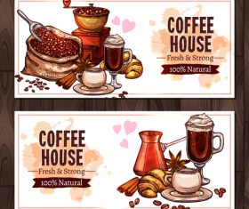 Coffee sketch banners with coffee mill vector 01