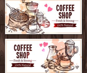Coffee sketch banners with coffee mill vector 02